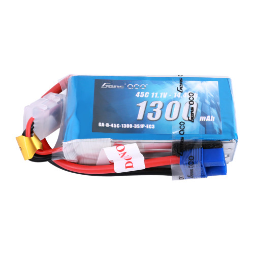Gens Ace 1300mAh 11.1V 45C 3S1P Lipo Battery Pack with EC3 Plug for RC Plane