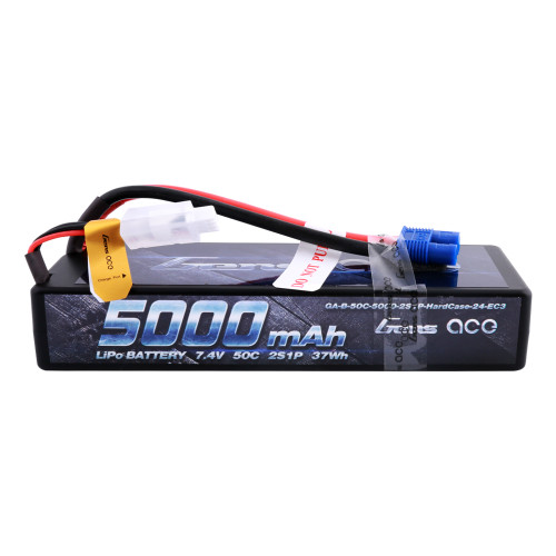 Gens ace 5000mAh 7.4V 50C 2S1P HardCase Lipo Battery Pack 24# with EC3 Plug for RC Car