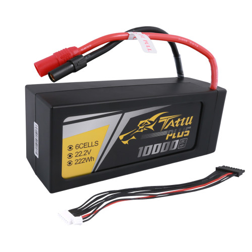 Tattu Plus 22.2V 25C 6S Lipo Battery 10000mAh with AS150+XT150 Plug (new version)