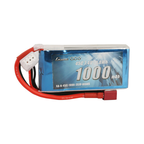 Gens ace 1000mAh 2S 45C Lipo Battery Pack with Deans plug