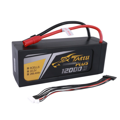Tattu 12000mAh 22.2V 15C 6S1P Lipo Smart Battery Pack with AS150 + XT150 Plug (New Version)