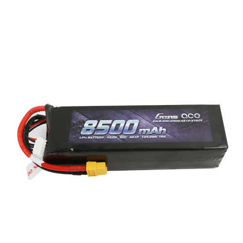 Gens ace 14.8V 50C 4S 8500mAh Lipo Battery Pack with XT60 Plug for Xmaxx 8S Car