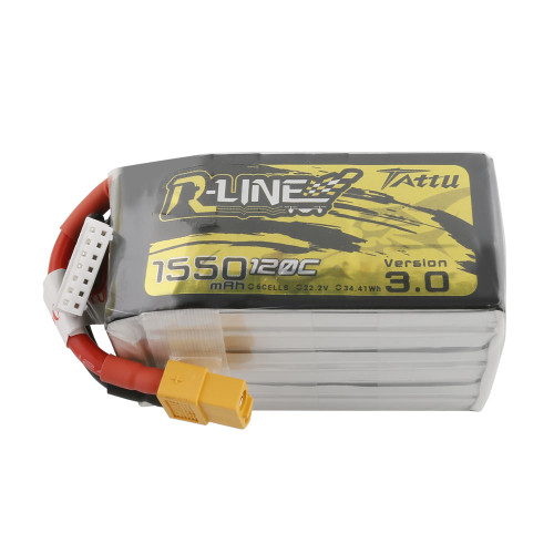 Tattu R-Line Version 3.0 1550mAh 22.2V 120C 6S1P Lipo Battery Pack with XT60 Plug