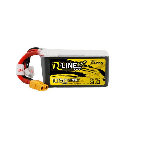 Tattu R-Line Version 3.0 1050mAh 22.2V 120C 6S1P Lipo Battery Pack with XT60 Plug