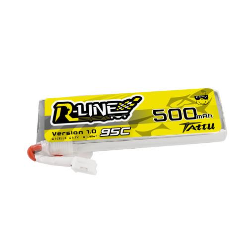 Tattu 500mAh 3.7V 95C 1S1P Lipo Battery Pack with JST-PHR Plug for FPV