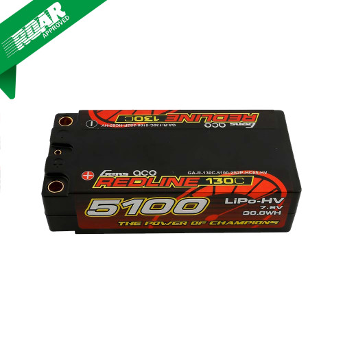 Gens ace Redline Series 5100mAh 7.6V 130C 2S2P HardCase HV Shorty Lipo Battery