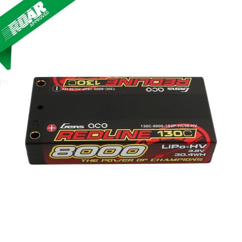 Gens ace Redline Series 8000mAh 3.8V 130C 1S2P HardCase HV Lipo Battery Product