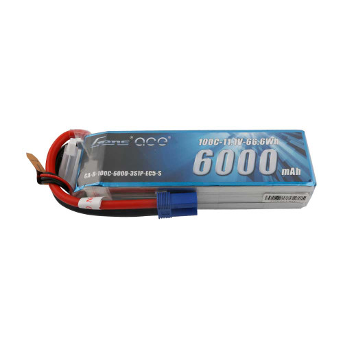 Gens ace 6000mAh 11.1V 100C 3S1P LiPo Battery Pack with EC5 Plug - Short Size