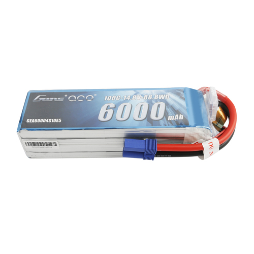 Gens ace 6000mAh 14.8V 100C 4S1P LiPo Battery Pack with EC5 Plug - Short Size for RC Car