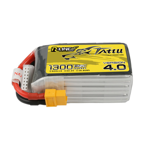 Tattu R-Line Version 4.0 1300mAh 22.2V 130C 6S1P Lipo Battery Pack with XT60 Plug