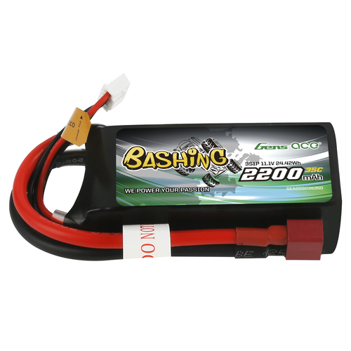 Gens ace Bashing 2200mAh 11.1V 35C 3S1P Lipo Battery Pack with Deans Plug for Crawler Car