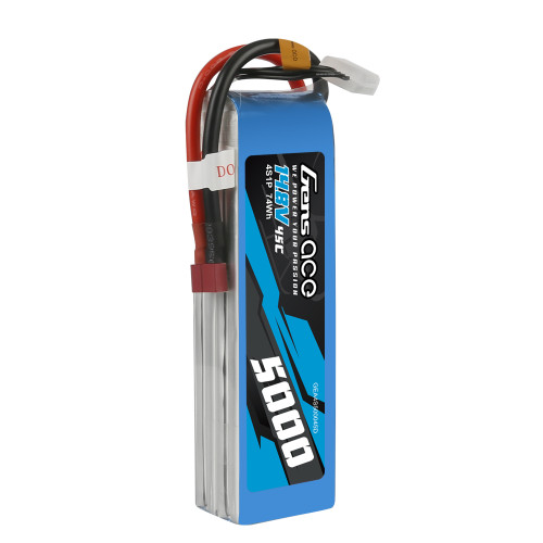 Gens Ace 5000mAh  45C 4S1P 14.8V Lipo Battery Pack with Deans Plug