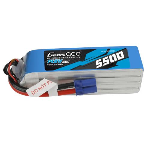 Gens ace 5500mAh 14.8V 4S1P 60C Lipo Battery Pack with EC5 Plug