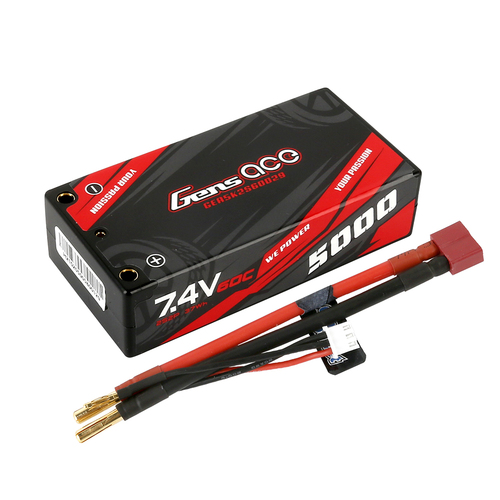 Gens ace 5000mAh 7.4V 2S2P 60C HardCase Lipo Battery Shorty Pack 29# with 4.0mm bullet to Deans plug