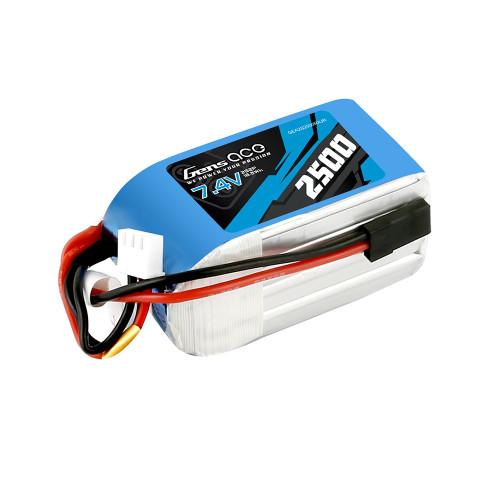 Gens Ace 2500mAh 7.4V 2S2P Hump RX Lipo Battery Pack with JR-3P Plug