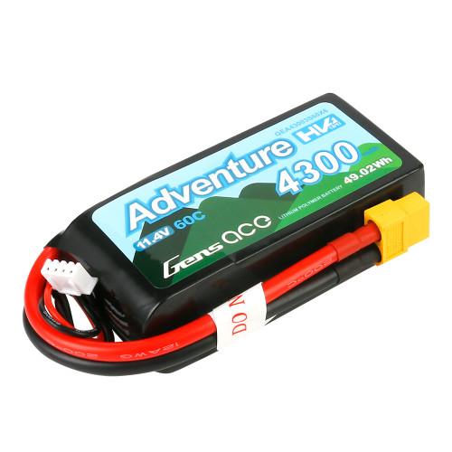 Gens Ace Adventure High Voltage 4300mAh 3S1P 11.4V 60C Lipo Battery with XT60 Plug