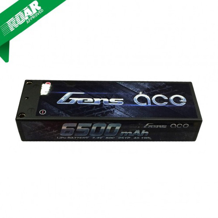 Gens ace 6500mAh 7.4V 50C 2S1P HardCase Lipo Battery Pack 10# with 4.0mm bullet to Deans Plug