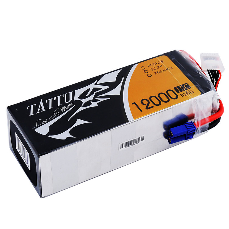 Tattu 15C 12000mAh 6S Lipo Battery Pack with EC5 Plug for UAV