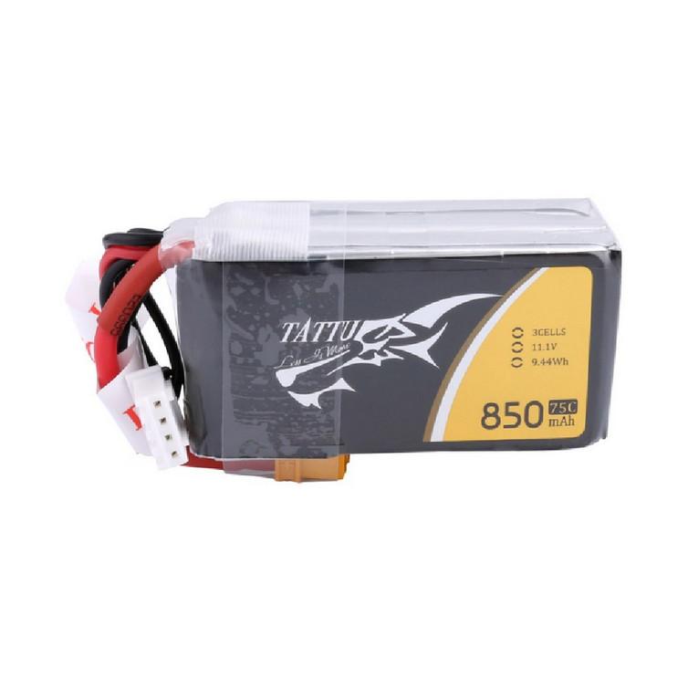 Tattu 850mAh 11.1V 75C 3S1P Lipo Battery Pack with XT30 Plug