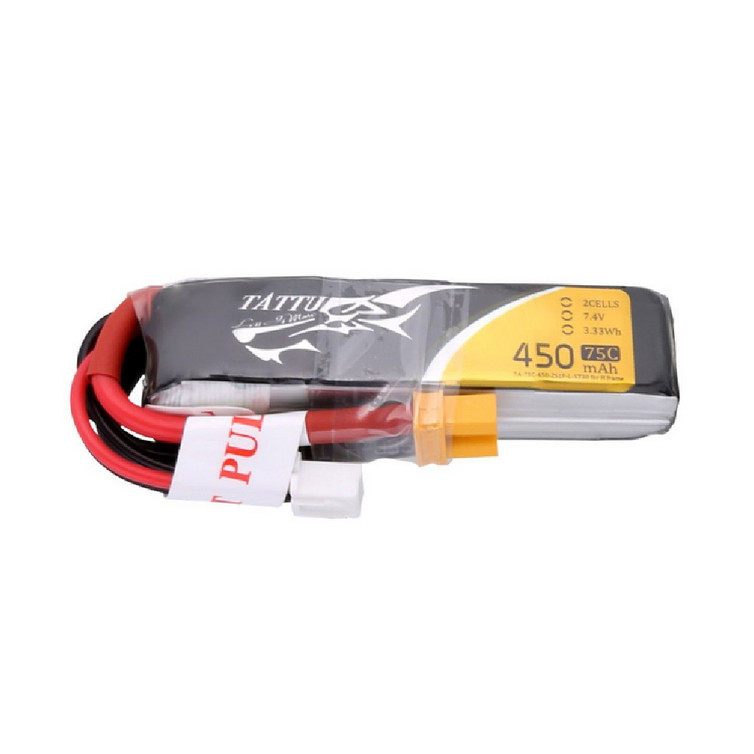 Tattu 450mAh 7.4V 75C 2S1P Lipo Battery Pack with XT30 Plug - Long Size for H Frame
