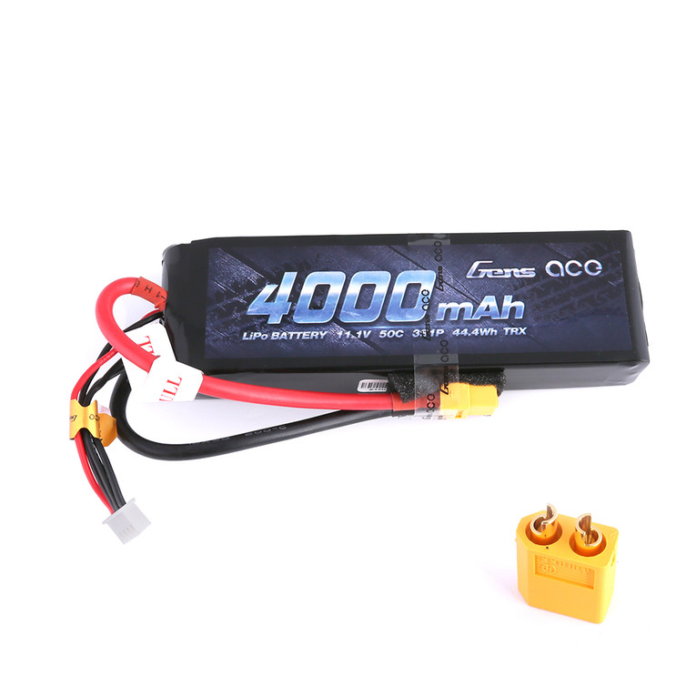 Gens ace 11.1V 50C 3S 4000mAh Lipo Battery Pack with XT60 Plug for RC Racing