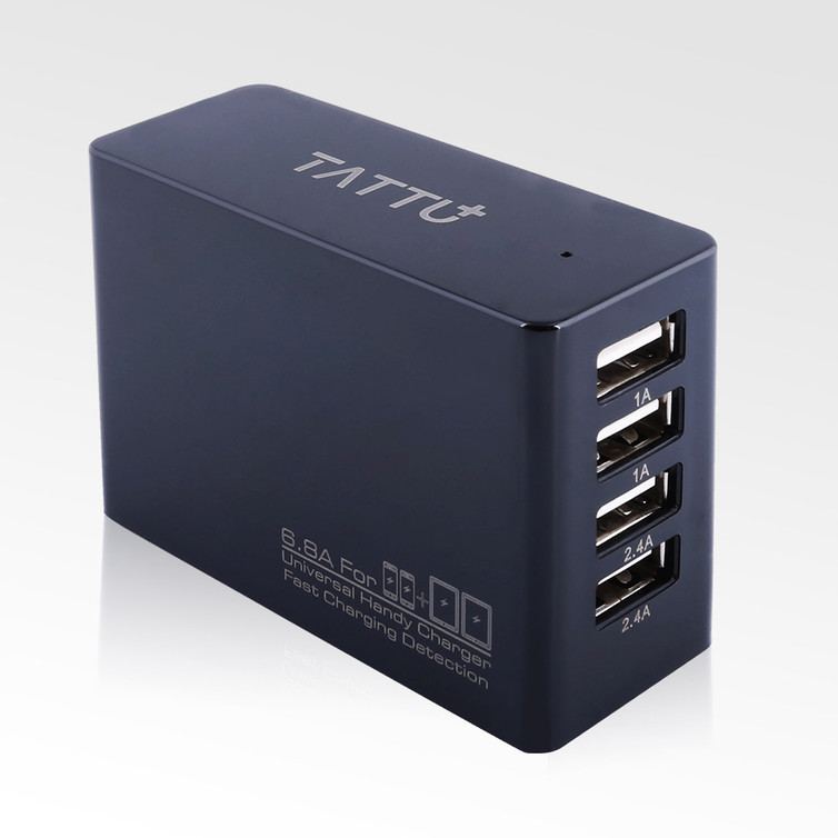 Tattu 34W 4 Ports USB AC Adapter 6.8A Wall Charger  for iPhone, iPad, Samsung, Smartphones and Tablets