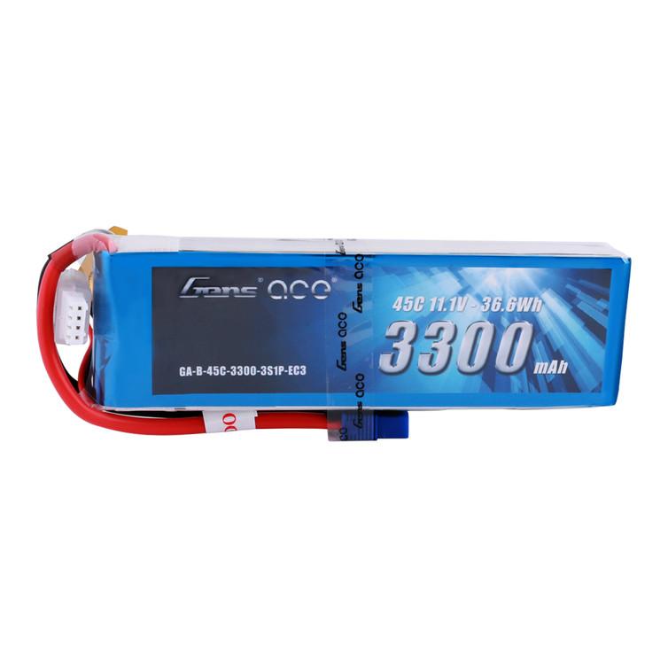 Gens ace 3300mAh 11.1V 45C 3S1P Lipo Battery Pack with EC3 Plug