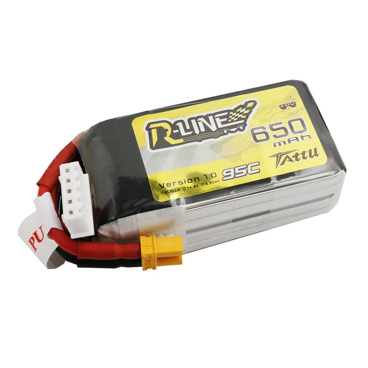 Tattu R-Line 650mAh 14.8V 95C 4S1P Lipo Battery Pack with XT30 Plug