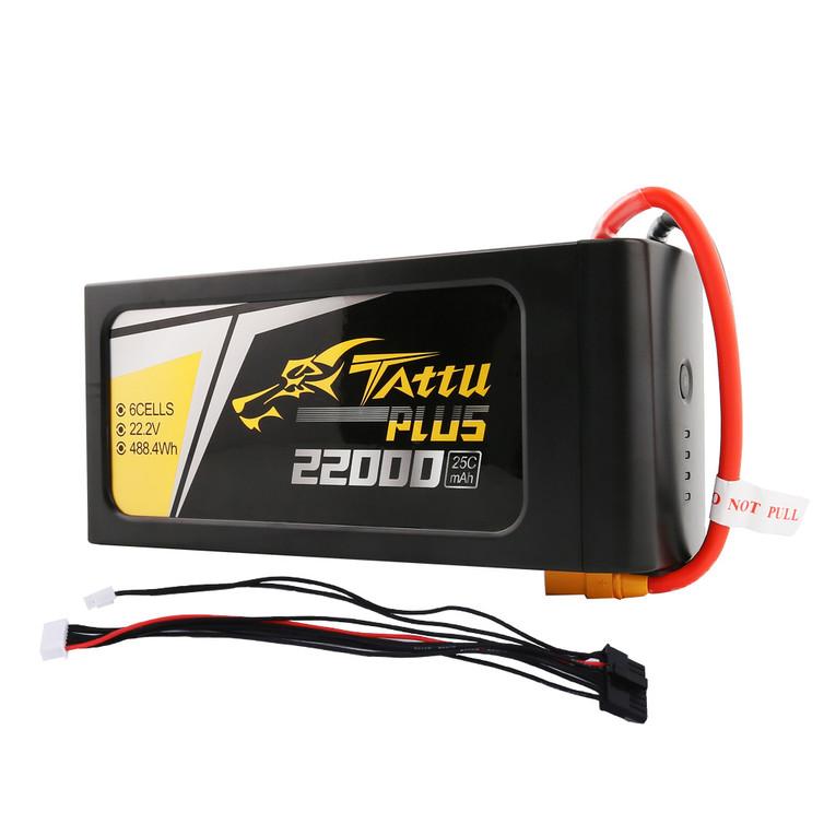 Tattu Plus 22000mAh 22.2V 25C 6S1P Lipo Smart Battery Pack with XT90-S Plug