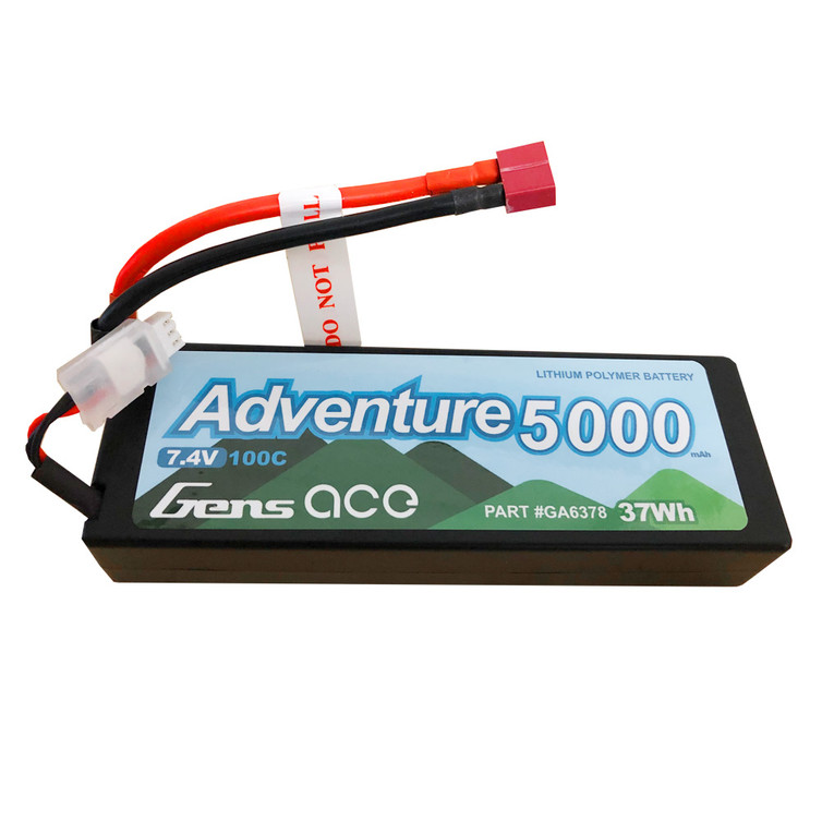 Gens ace Adventure 5000mAh 7.4V 100C 2S1P HardCase Lipo Battery Pack 24# with Deans Plug