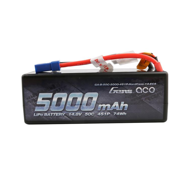 Gens ace 5000mAh 14.8V 50C 4S1P HardCase Lipo Battery14# with EC5 Plug
