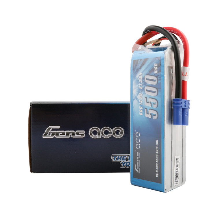 Gens ace 5500mAh 14.8V 60C 4S1P Lipo Battery Pack with EC5 Plug