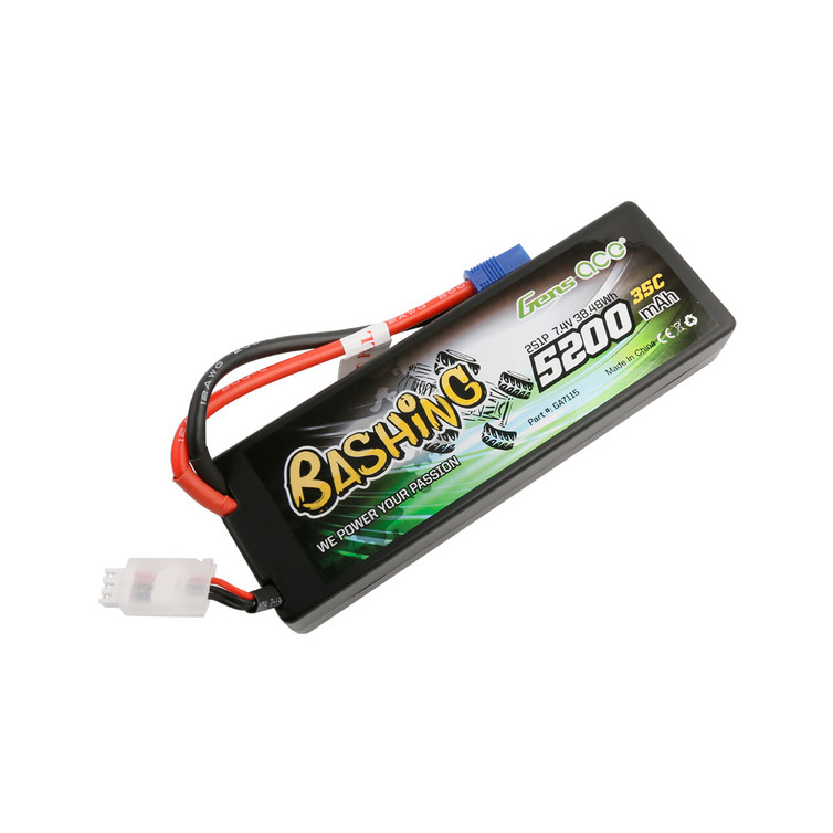 Gens ace Bashing Series 5200mAh 7.4V 2S1P 35C car Lipo Battery Pack Hardcase 24# with EC3 Plug