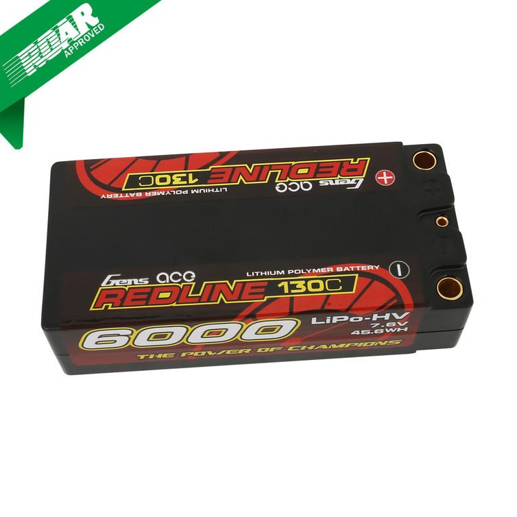 Gens ace Redline Series 6000mAh 7.6V 130C 2S2P HardCase HV Shorty Lipo Battery Product