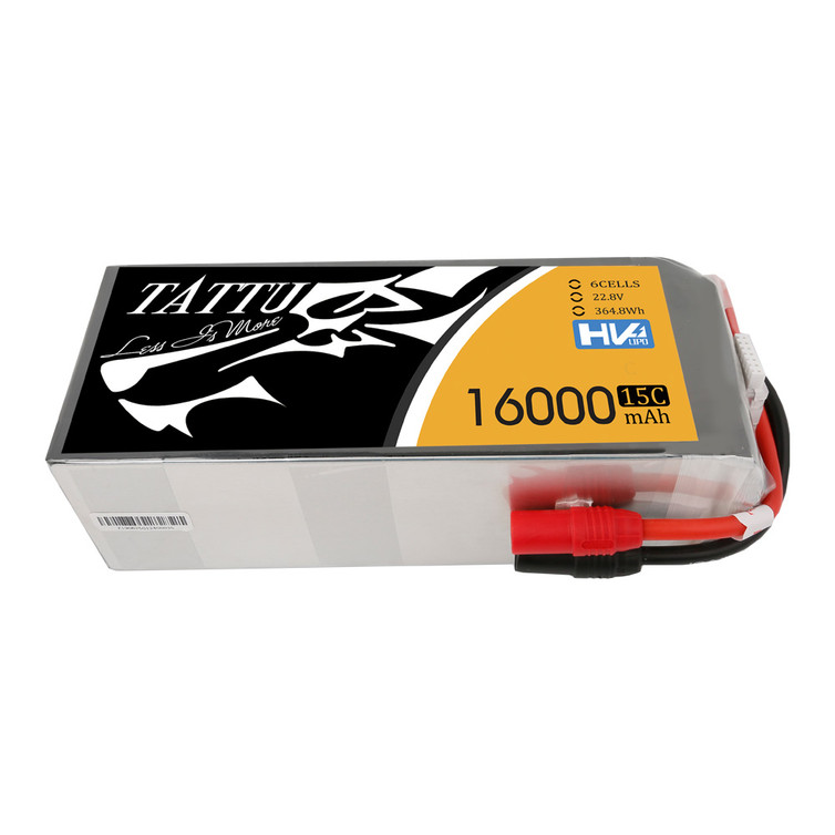 Tattu 22.8V 15C 6S 16000mAh LiPo Battery with AS150+AS150 Plug for UAV