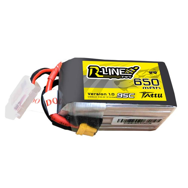 Tattu R-Line 650mAh 22.2V 95C 6S1P Lipo Battery Pack with XT30 Plug for FPV