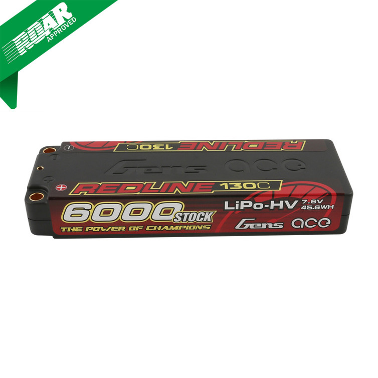 Gens ace Redline Series 6000mAh 7.6V 130C 2S2P HardCase HV Lipo Battery