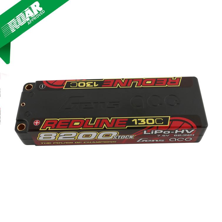 Gens ace Redline Series 8200mAh 7.6V 130C 2S1P HardCase HV Lipo Battery