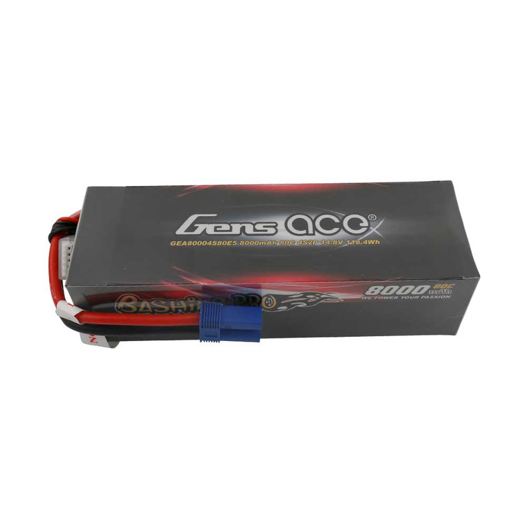 Gens ace 8000mAh 14.8V 80C 4S2P Lipo Battery Pack with EC5 Plug