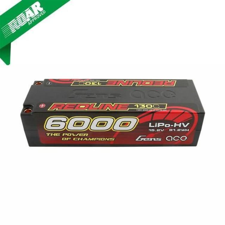 Gens ace Redline Series 6000mAh 15.2V 130C 4S1P HardCase HV Lipo Battery Product