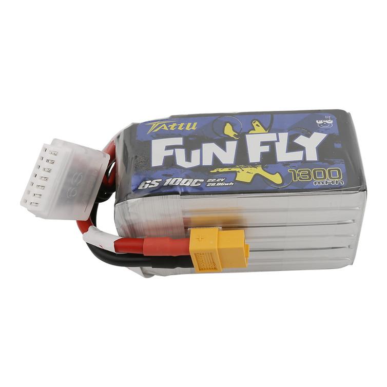 Tattu FunFly 1300mAh 100C 22.2V 6S1P lipo battery pack with XT60 Plug