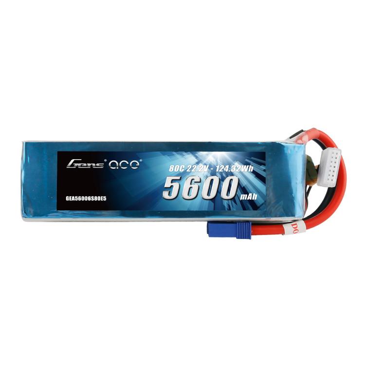 Gens ace 22.2V 80C 6S 5600mah Lipo Battery Pack with EC5 Plug