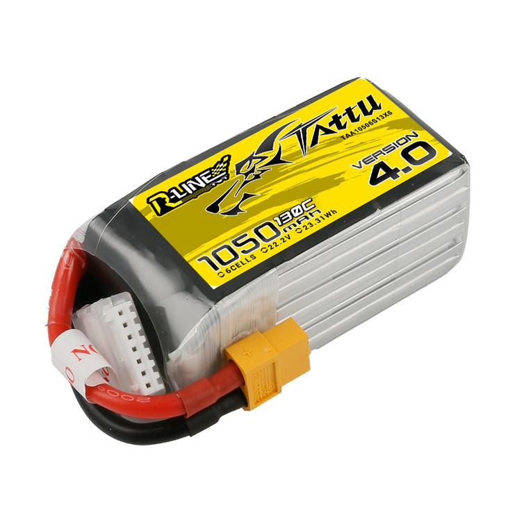 Tattu R-Line Version 4.0 1050mAh 22.2V 130C 6S1P Lipo Battery Pack with XT60 Plug Product