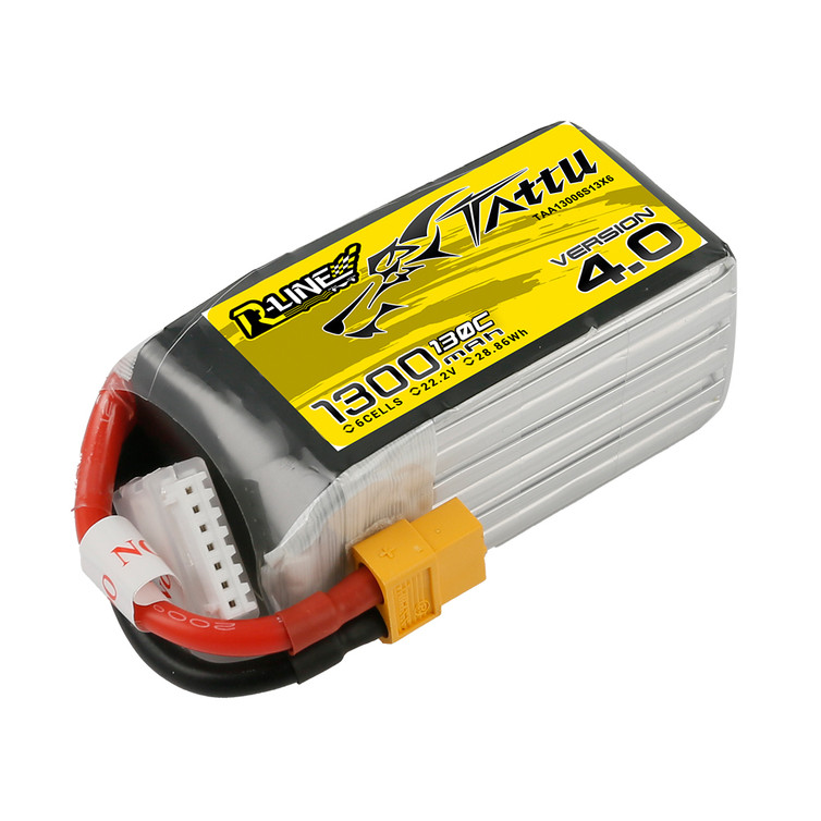 Tattu R-Line Version 4.0 1300mAh 22.2V 130C 6S1P Lipo Battery Pack with XT60 Plug Product