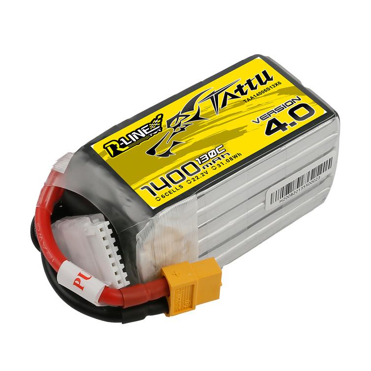 Tattu R-Line Version 4.0 1400mAh 22.2V 130C 6S1P Lipo Battery Pack with XT60 Plug