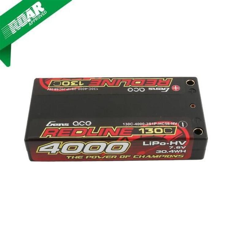 Gens ace Redline Series 4000mAh 7.6V 130C 2S1P HardCase HV Lipo Battery with Hardcase 58#