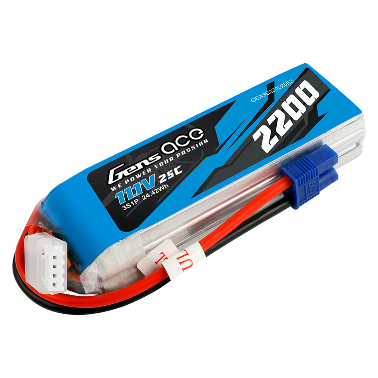 Gens ace 2200mAh 11.1V 3S 11.1V 25C Lipo Battery Pack with EC3 Plug for RC Plane