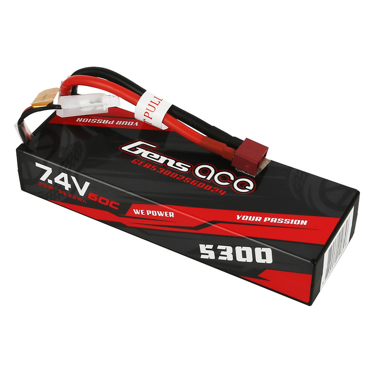 Gens ace 5300mAh 7.4V 60C 2S1P HardCase Lipo Battery Pack 24# with Deans Plug