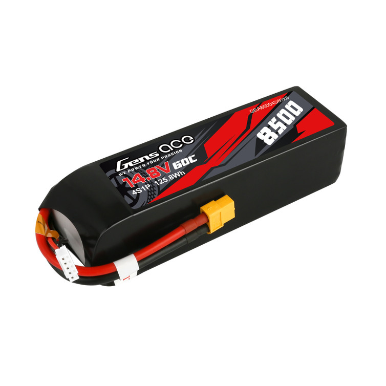 Gens ace 14.8V 60C 4S 8500mAh Lipo Battery Pack with XT60 Plug for Xmaxx 8S Car