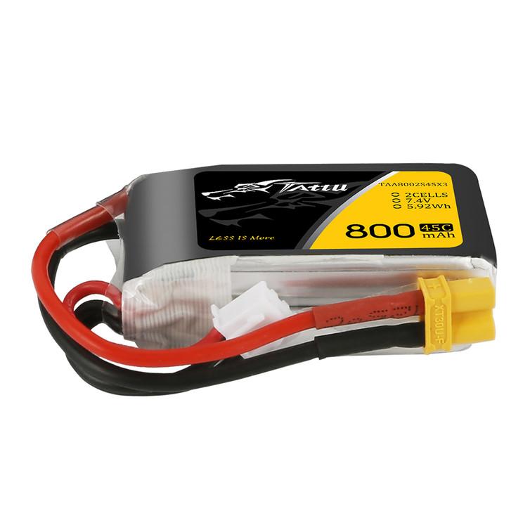 Tattu 800mAh 7.4V 45C 2S1P Lipo Battery Pack  with XT30 plug